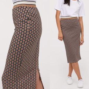 H&M Honeycomb Patterned High Waist Pencil Skirt
